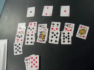 """Solitaire set up for """"The Gin Game"""" Barter Theatre"""